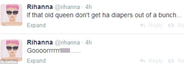 War of words: Rihanna dubbed Charlie Sheen 'an old queen' via her Twitter