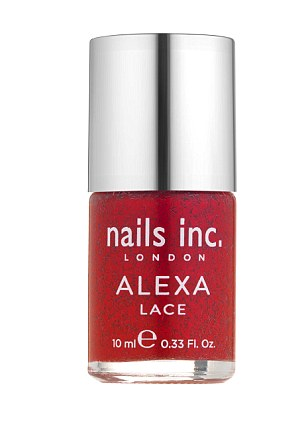 Lady in red: Alexa has created a range of £15 polishes starting with a classic lace effect red called Alexa Lace In Red, which will pre-launch online in June for £12