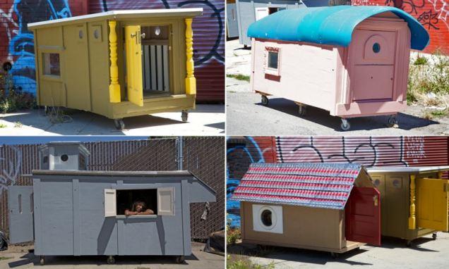 Artist Greg Kloehns minimobile houses given to the