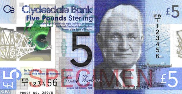 Made from plastic: Two million of the £5 notes will be released by Clydesdale Bank to coincide with the anniversary of the opening of the rail bridge in east Scotland in 1890. Above, what the notes will look like