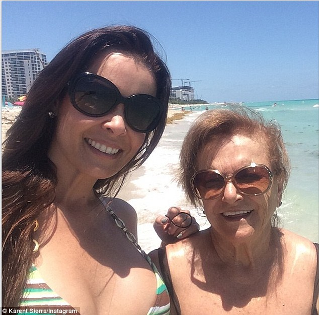 Mother and daughter: The reality star Instagrammed this image, writing, 'Beach day celebrating my moms birthday! @lucero_sierra #miamibeach #happy'