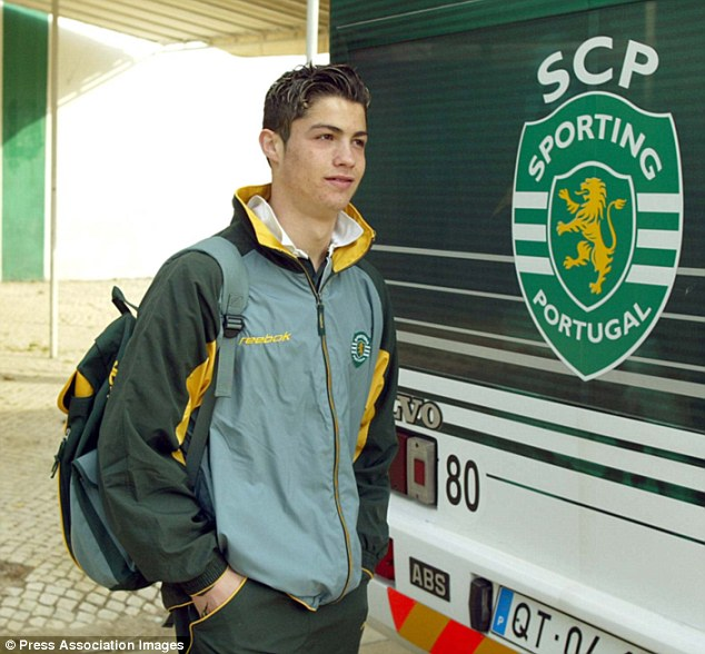 Image result for double pic of cristiano ronaldo in sporting lisbon and madrid colors