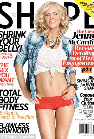 Great at any age: Donnie showed off his abs during a show in Franfurt on Saturday, while Jenny puts her curves on display in the June/July issue of Shape magazine