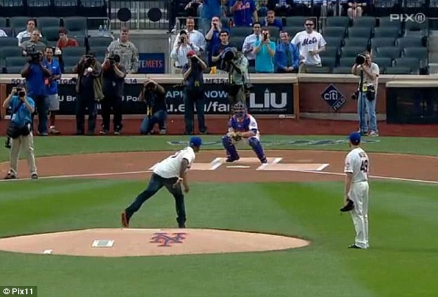 Pitch: 50 Cent's pitch is seen here - going very far off-target
