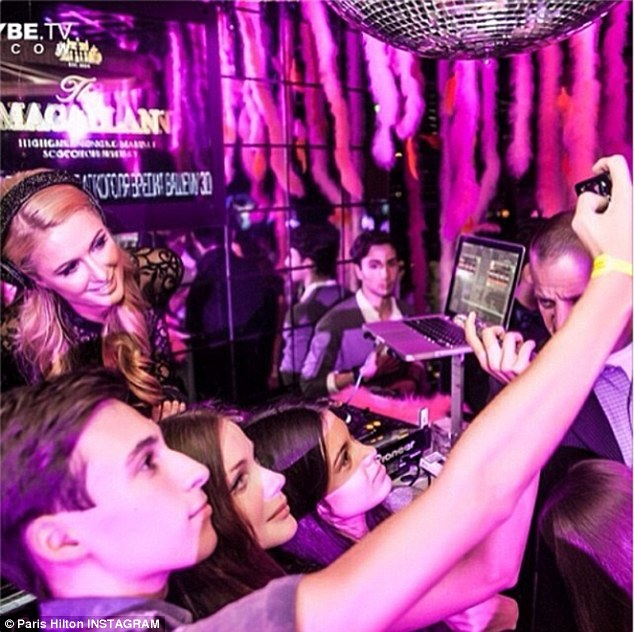 Partying it up: Paris posted a photo of her inside a nightclub in Monaco celebrating the Monaco Grand Prix
