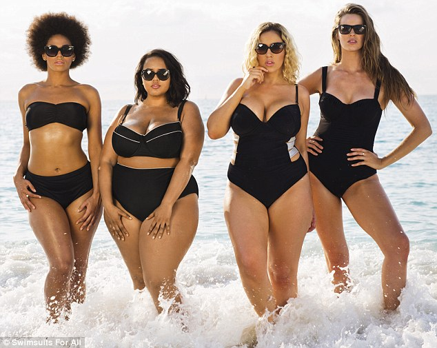 In action: Plus-size model Robyn Lawley (far right) is joined by other curvy women in a new swimwear calendar retaliating against society's obsession with super-slim bodies - here the bathing beauties strike a pose for July