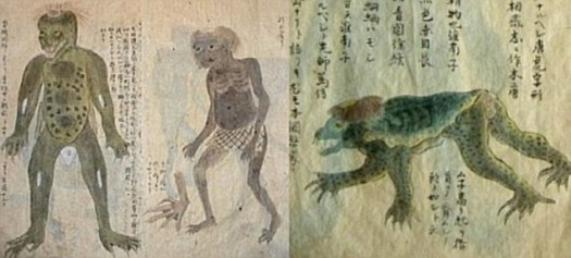 In Japanese folklore, the child-sized Kappa, or 'river child' occasionally jumps out of its watery lair to pull pranks as well as attacking women and even pulling people into the water where it drowns them. The colour, shape and features of the monster vary according to differing illustrations (pictured) of the creature