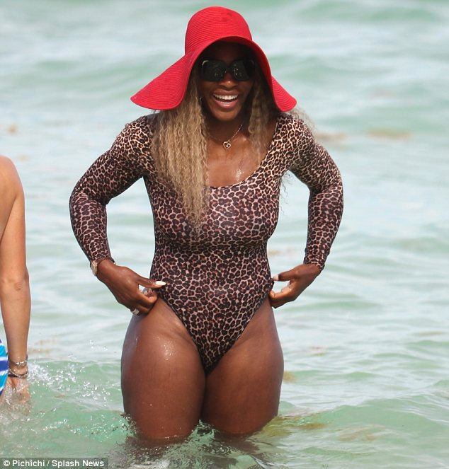 Looking ace: Serena was redefining beachwear by sporting a leotard instead of a swimsuit