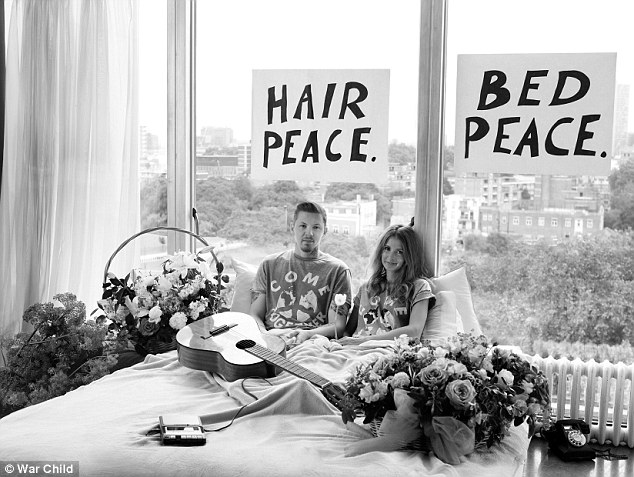 Professor Green and his wife Millie MacIntosh recreate the iconic image of John Lennon and Yoko Ono