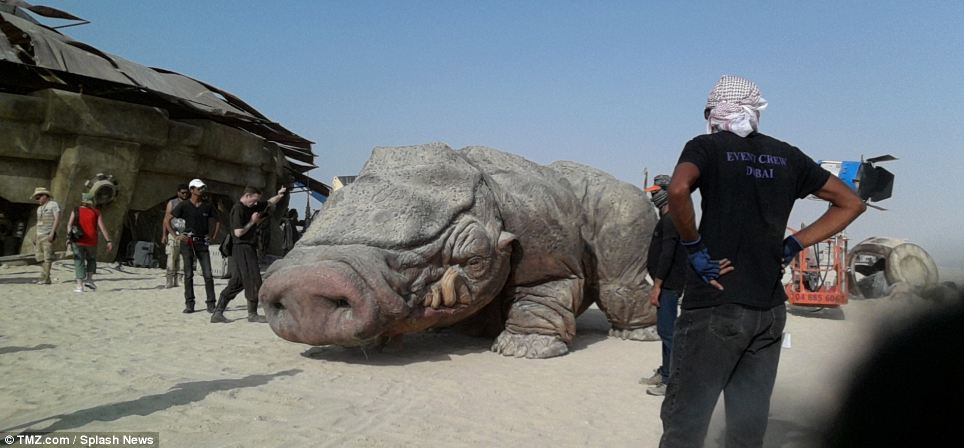 A series of photos have emerged from the ultra-secretive Abu Dhabi set of Star Wars: Episode VII including a massive four-legged alien creature that looks like a cross between a rhinoceros, a pig and a bulldog
