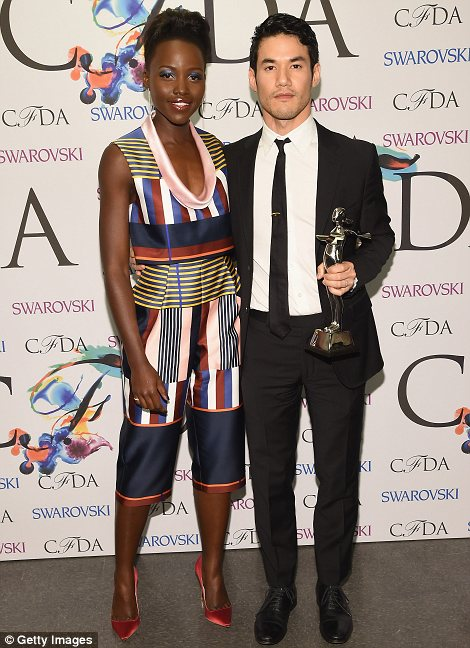 Fashion forward: For once the designers were front and centre as Joseph Altuzarra received his award from Lupita and Stuart Weitzman chatted with Olivia Wilde
