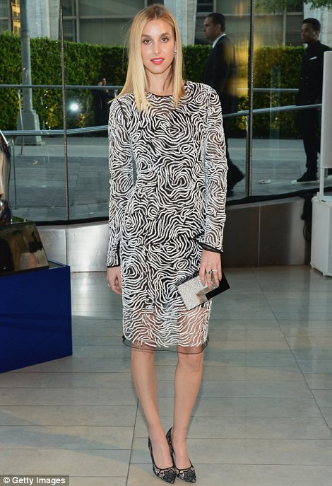 Unusual design: Former The Hills star turned designer Whitney Port was one of the guests at the CFDAs on Monday and arrived in an unusual patterned dress
