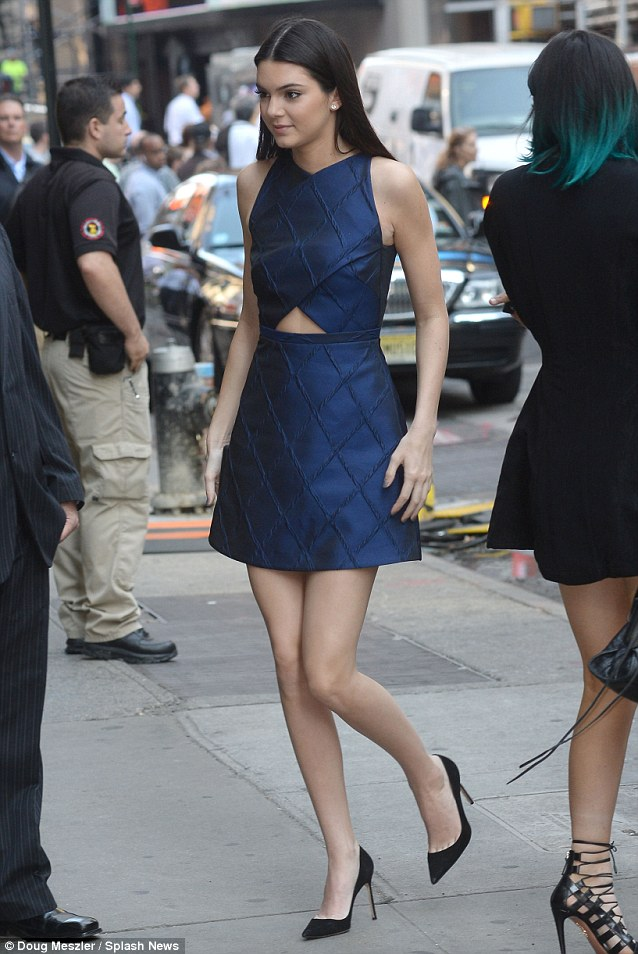 Feeling blue: Kendall wore a pretty dress for her first TV appearance of the day