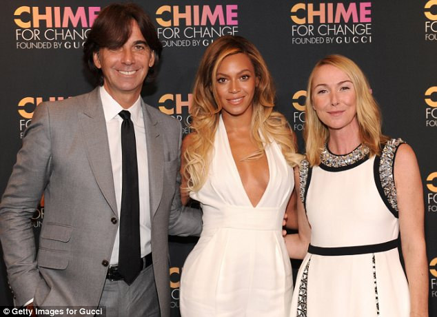 Star power: Gucci President and CEO Patrizio di Marco, Beyonce and Gucci Creative Director Frida Giannini posed for pictures at the anniversary celebration of the Chime For Change by Gucci concert