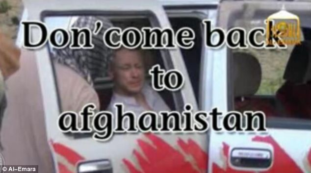At two points in the video the message in English flashes up: 'Don' come back to Afghanistan' [sic]
