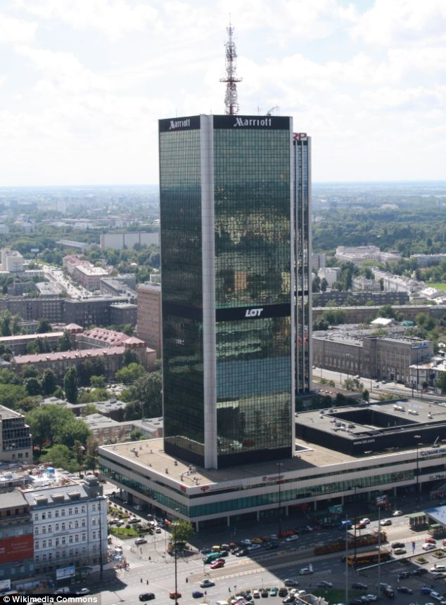 Mr Obama is staying at the luxury £900 per night presidential suite on the top floor of the 40-floored Marriott hotel tower in Warsaw