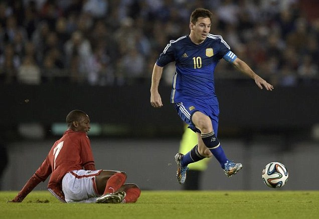 Superstar: Lionel Messi's team recorded a 3-0 win against their Caribbean opponents