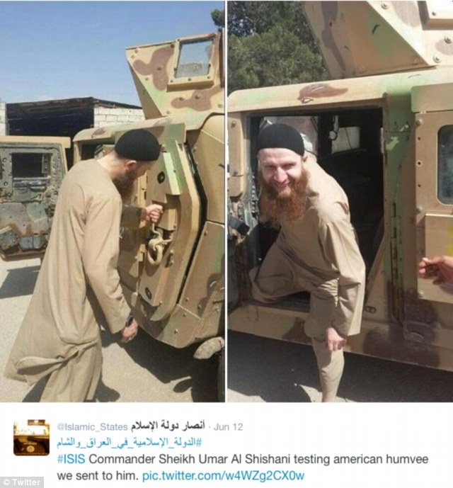 Ill-gotten gains: This tweeted picture apparently shows ISIS commander Skeikh Umar Al Shishani inspecting an American Humvee that his forces captured from an Iraqi army unit