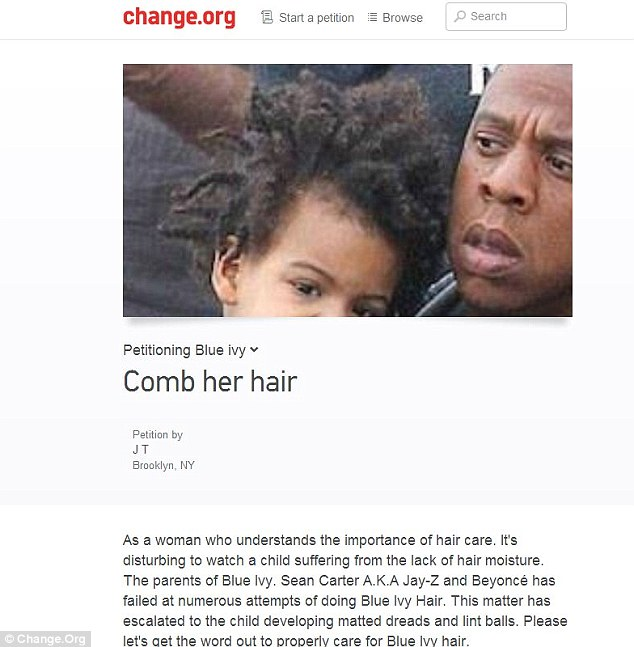 Lighthearted? The woman who launched the petition has since stated that the page was a joke, before giving her advice on how Blue Ivy's hair should be moisturized