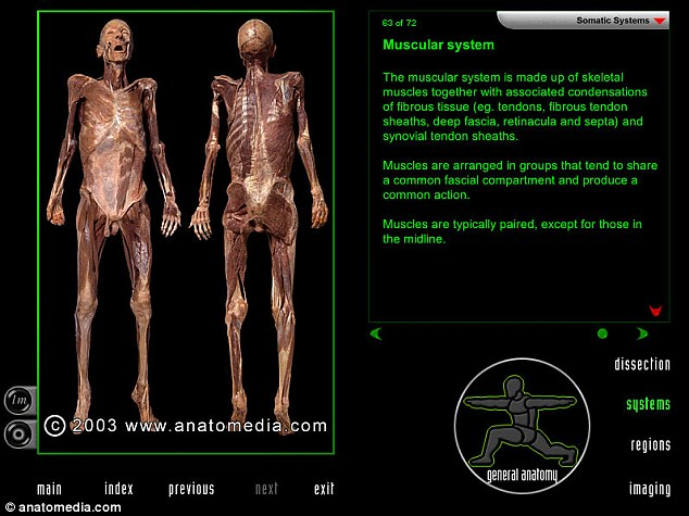 Medical students can use 'virtual dissection software' to perform dissections in the absence of real bodies, which are in short supply. A real corpse and the body's muscles  is pictured. The Anatomedia website shows a demo video and screenshots. To use the tool, users must request access from the university