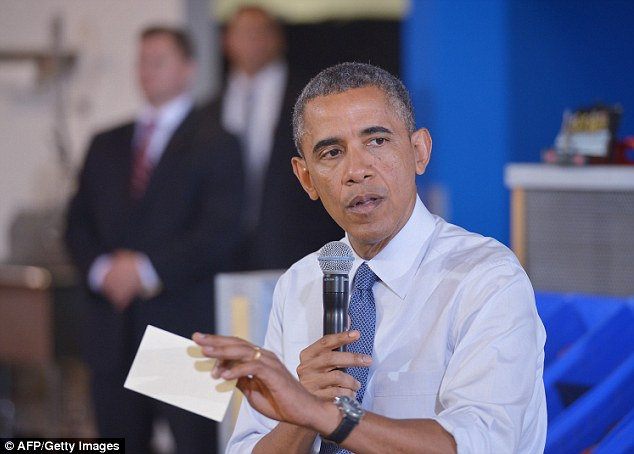 Political victory: US President Barack Obama speaks following a tour of TechShop Pittsburgh on June 17, 2014 in Pittsburgh, Pennsylvania. during his speech President Obama commented on the capture of a key suspect linked to the deadly 2012 attack on the American consulate in Benghazi, conducted by US troops in a secret operation in Libya over the weekend