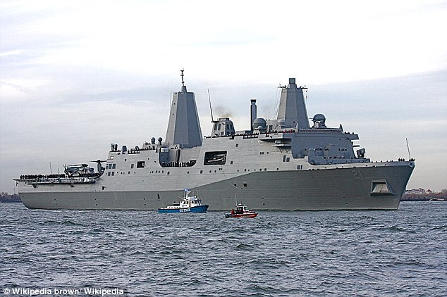 Captive: Ahmed Abu Khattala is reportedly being held on the USS New York (pictured here) - which contains steel salvaged from the wreckage of the World Trade Center destroyed on September 11, 2001