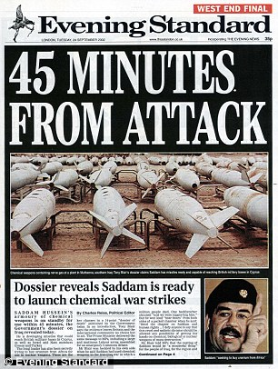 Mrs May's warning is reminiscent of the now-discredited claim that Saddam Hussein could hit Britain in  45 minutes