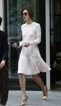 Keira Knightley steps out in a bridal-inspired dress on ...