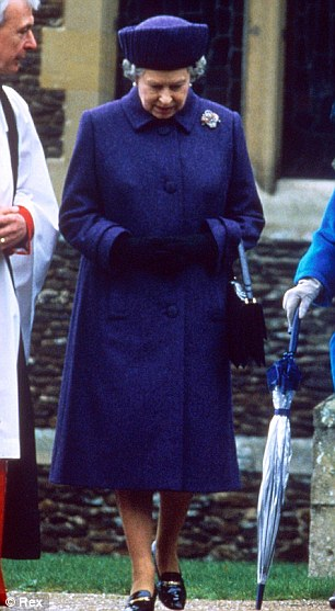 1993: Glancing down at her feet ¿ yes, the shoes are still the same¿ at Sandringham