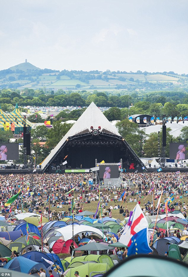 The sun comes up: Festival goer rose for the final day of the festival on Sunday
