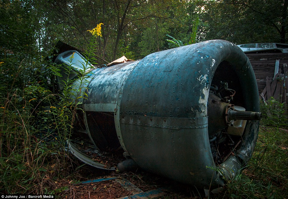 A WW2 warplane left in the bush, nature now consuming it. Mr Soplata's collection was famous in parts of Ohio and the family welcomed visitors until his health began to decline