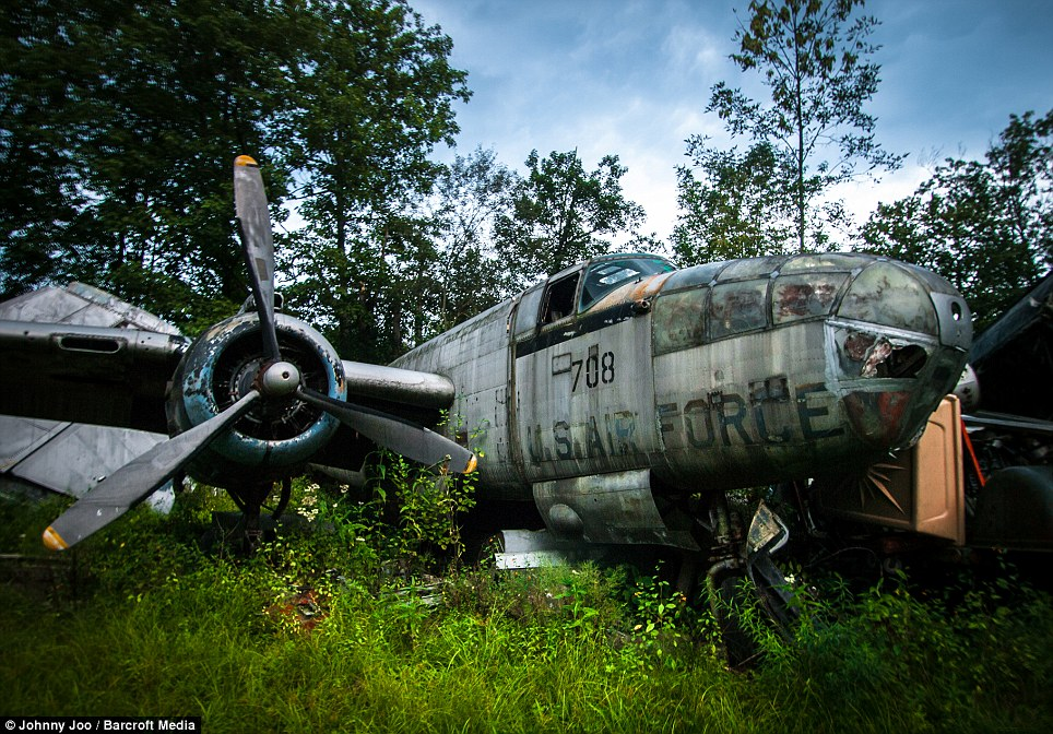 These eerie pictures show all that remains of a fleet of World War II U.S. Air Force fighter planes. With their livery almost obscured by rust and moss these abandoned metal skeletons are almost unrecognisable from the once great air crafts they were. Pictured is a B-25 Mitchell