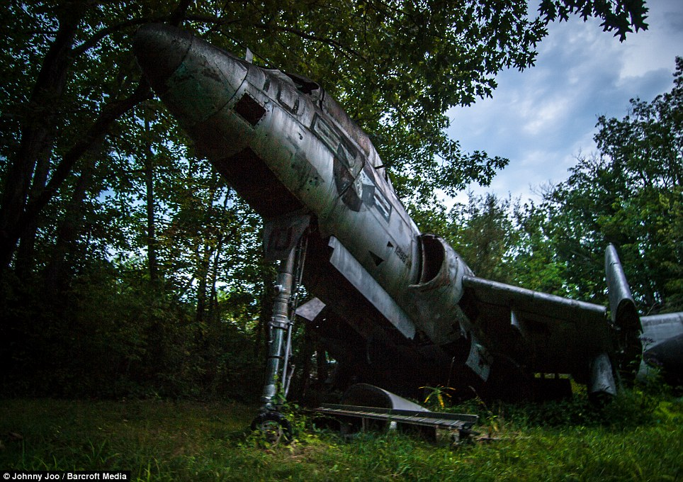 The haunting images - including this of a Cold War jet - were captured by 24-year-old photographer, Jonny Joo, from Ohio, who has made a name for himself by venturing into long-abandoned places