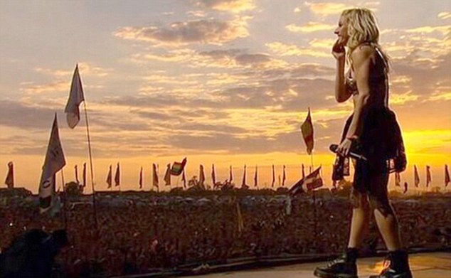 As the sun goes down: After performing, the blonde beauty shared a shot of herself on-stage