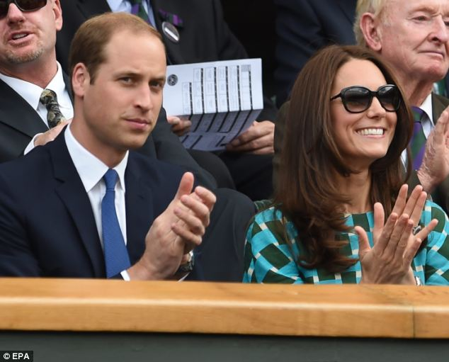 Royals: Catherine, Duchess of Cambridge (R), and Prince William, Duke of Cambridge (L) watch the men's singles final between Roger Federer and Novak Djokovic