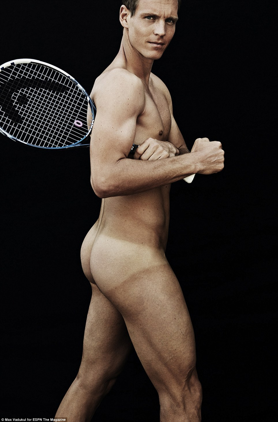 Tennis anyone? Czechoslovakian tennis star Tomas Berdych (pictured) gamely ditches his shorts - to great effect - as he poses for the risque issue
