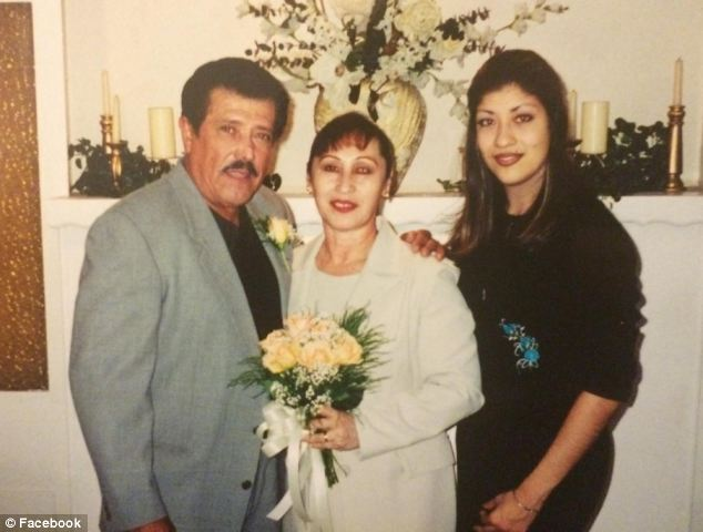Turning her life around: A 19-year-old Flores is pictured with her father and stepmother after dropping out of school and working in local businesses before realizing she needed a college degree to further her career