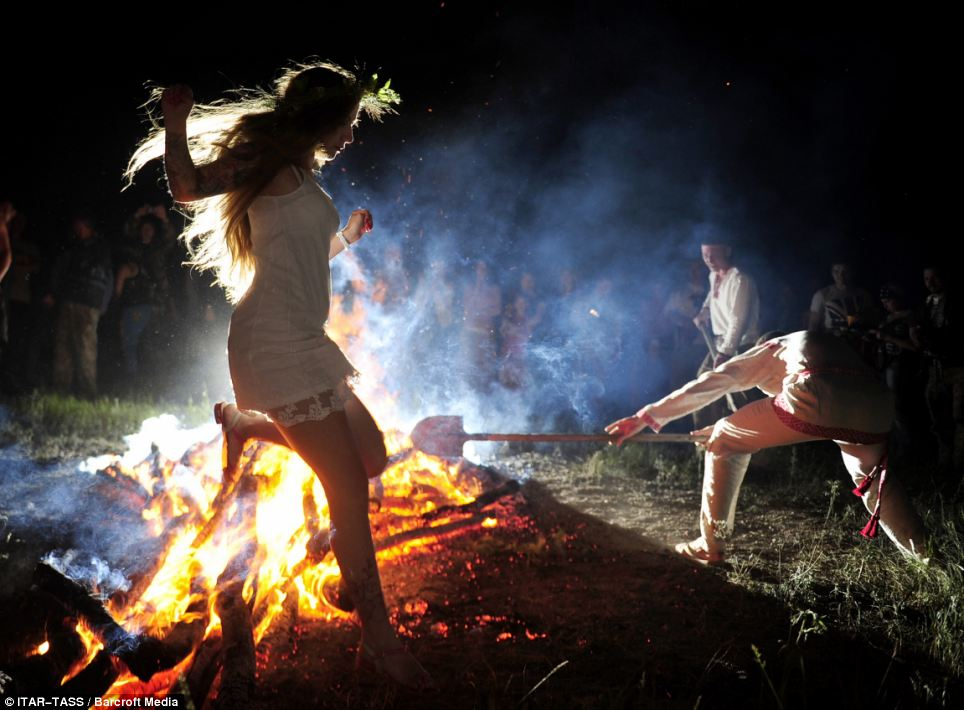 Baptism Of Fire Girls Leap Over Flames As Part Of Ancient