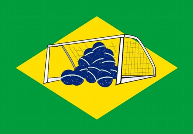 Mocked up: The blue disc on the Brazilian flag was changed into several balls in the back of a net