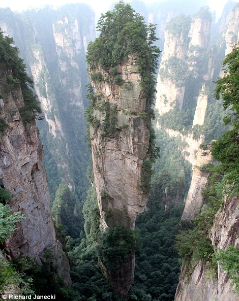 "The Tianzi Mountains are located in Zhangjiajie in the Hunan Province of China, close to the Suoxi Valley. They are named after the farmer Xiang Dakun of the Tujia ethnic group, who led a successful local farmers' revolt and called himself ""tianzi""."