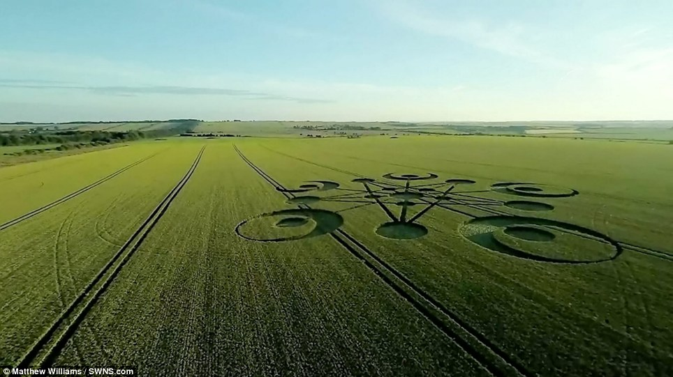Technical: Some believe the crop circle is the result of a skilled artist, while others believe the geometric points show the spot where a spaceship has landed