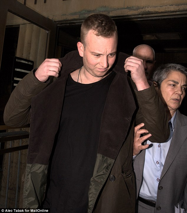 Arrested: Kevin McEnroe, the son of tennis champ John McEnroe and Oscar-winning actress Tatum O'Neal, is pictured leaving Manhattan Criminal court on Wednesday after being caught in a drug deal Tuesday night