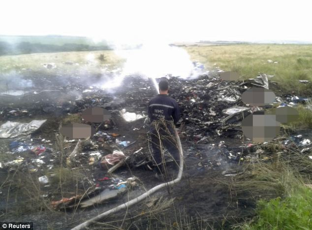 A firefighter tackles a blaze at the site of the Malaysia Airlines Boeing 777 plane crash in the settlement of Grabovo in the Donetsk region of Ukraine