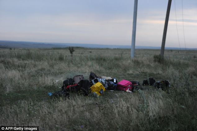 Suitcases and bags are pictured at the crash site of Malaysian Airways flight MH17