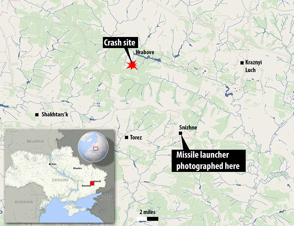 A map showing the distance between the launch site and the MH17 crash site