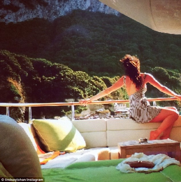 Taking it all in: Lindsay looks out at the view from the yacht in one Instagram photo