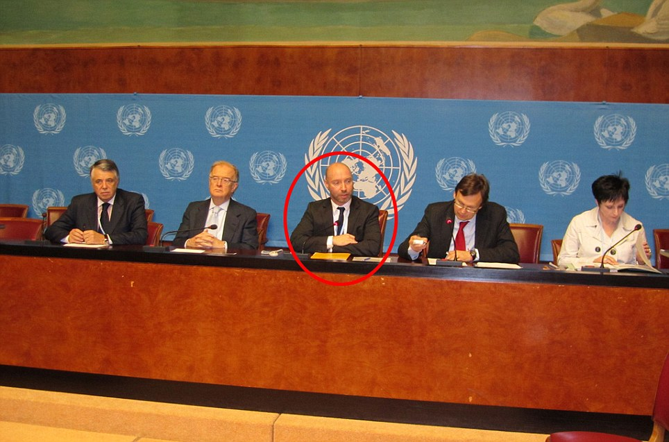 International: Mr Thomas (circled) is pictured above at a press conference delivered by the World Health Organisation - an agency of the United Nations - and is surrounded by high-ranking experts from the body