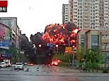 Shocking moment China search and rescue helicopter crashes in middle of built-up residential area killing all five crew