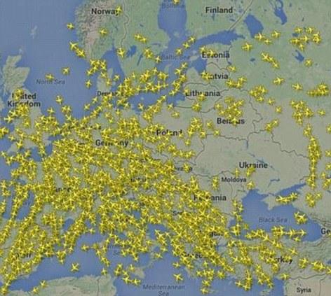 Flight pattern around Ukraine for July 17th, 2014 (via dailymail.co.uk)
