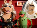 Wedding bells?: Despite wearing this Vivienne Westwood dress for the movie Muppets Most Wanted, Miss Piggy has said she's more focused on picking a couple name for her and Kermit than a wedding ring